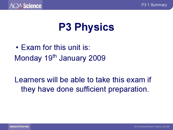 Preview of AQA Physics - P3 Summary and notes
