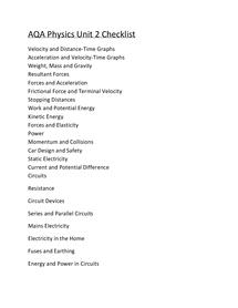 Preview of AQA Physics Unit 2 Checklist GCSE WORD DOC.