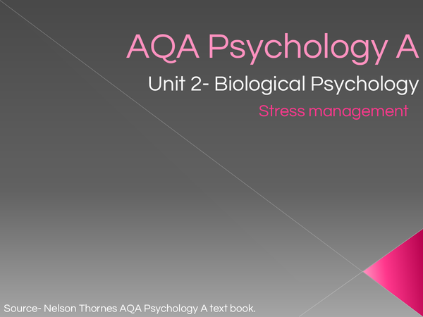Preview of AQA Psychology A, Stress management