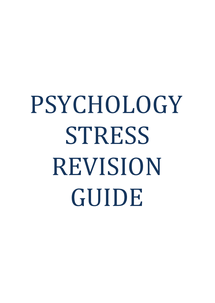 Preview of AQA Psychology A Stress Revision Notes