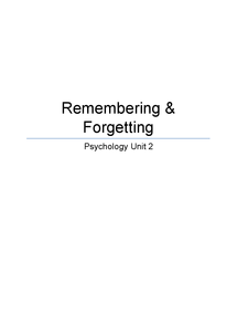 Preview of AQA Psychology B, Unit 2, Remembering & Forgetting