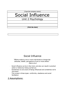 Preview of AQA Psychology B, Unit 2, Social Influence