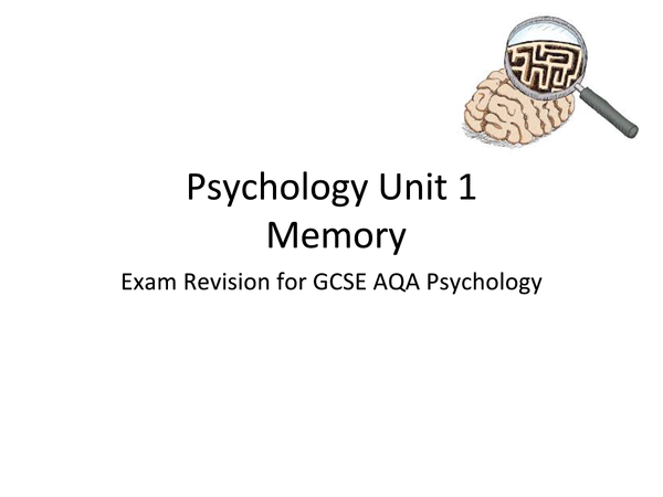 Preview of AQA Psychology Unit 1: Memory
