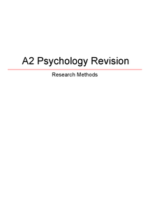 Preview of AQA Research Methods Revision Guide