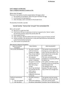 Preview of AQA RS unit 3 full notes