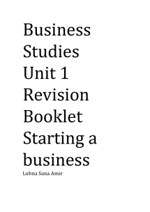 Preview of AQA Unit 1 Business Studies Revision Booklet