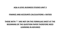 Preview of AQA Unit 3 finance and accounts formulas and calculations a level