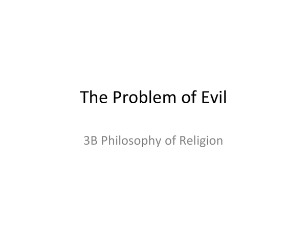 Preview of AQA A2 Unit 3B: The Problem of Evil