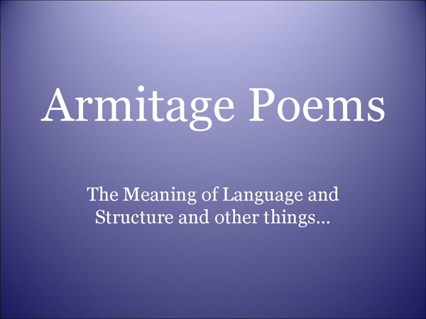 Preview of Armitage poems