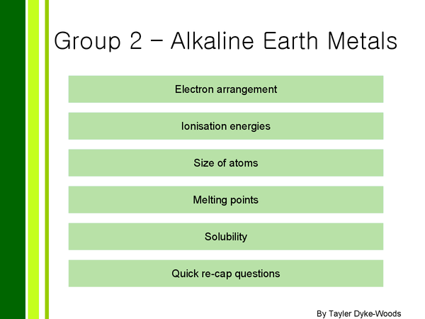 Preview of Group 2, The alkaline earth metals