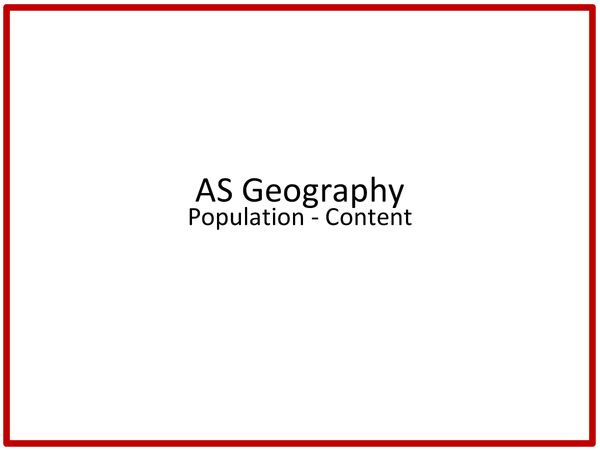 Preview of AS AQA Geography Population content