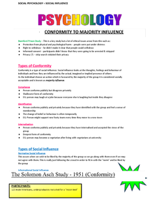Preview of AS AQA PSYCHOLOGY A, SOCIAL INFLUENCE - SOCIAL PSYCHOLOGY