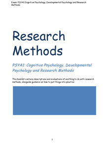 Preview of AS AQA Psychology Research methods booklet