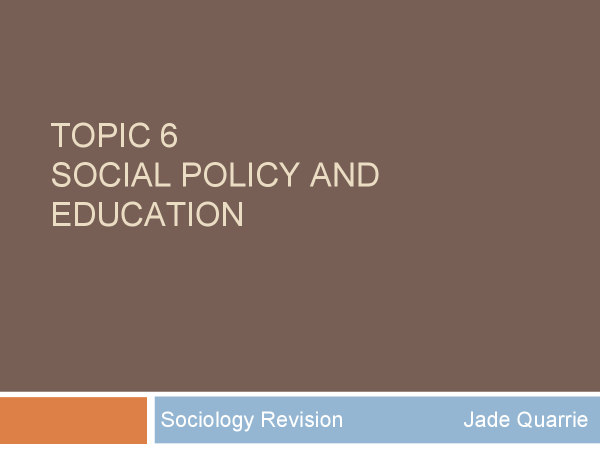 Preview of AS AQA Sociology: Social policy and education