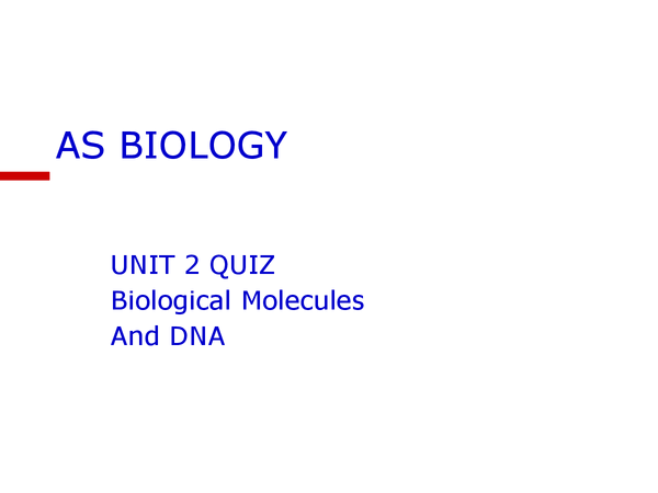Preview of AS Biology (new - 2008 course) Unit 2 Quiz