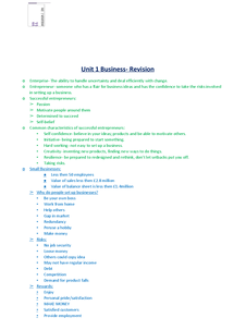 Preview of AS Business Revision Notes Unit 1