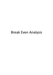 Preview of AS Business Studies: Break-even Analysis