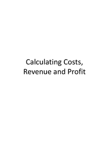 Preview of AS Business Studies: Calculating Costs, Revenue and Profit