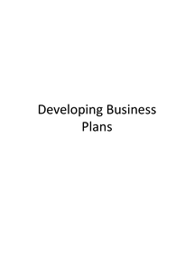 Preview of AS Business Studies: Developing Business Plans