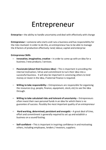 Preview of AS Business Studies: Enterprises
