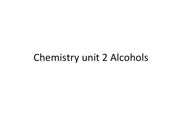 Preview of AS Chemistry Alcohols powerpoint