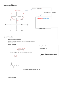 Preview of AS Chemistry - Naming Alkanes Notes