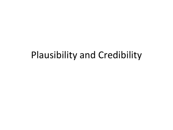 Preview of AS Critical Thinking, Plausability and Credibility