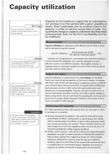 Preview of AS Economics: Capacity utilization revision sheets