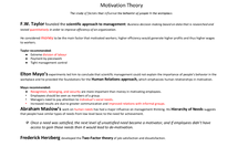 Preview of AS Economics: Motivation theory