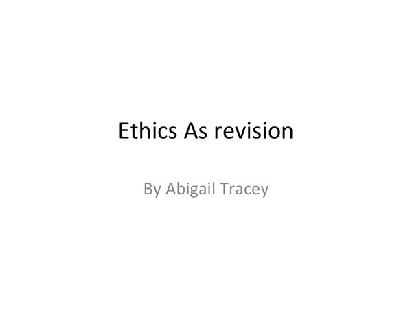 Preview of AS ethics revision