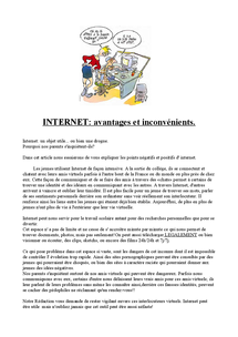 Preview of AS French: Internet Article (advantages and disadvantages)