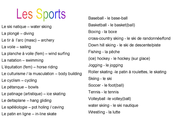 Preview of as french sport vocabulary