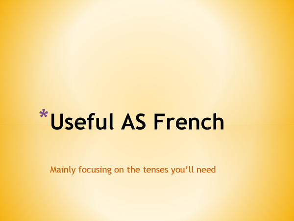 Preview of AS French Structures, Tenses & Tips!
