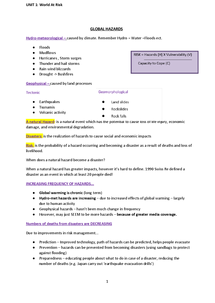 Preview of AS Geography Edexcel- Unit 1 Revision Notes with case studies