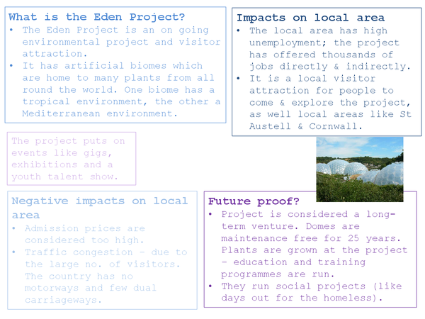 Preview of AS Geography Summary sheet for Eden Project (rebranding)