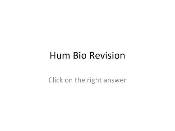 Preview of AS Hum Bio Quiz