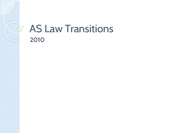 Preview of As Law Transitions