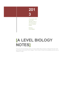 Preview of AS level Biology (OCR)-Cells Exchange and Transport