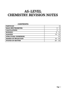 Preview of AS Level Chemistry Revision Notes