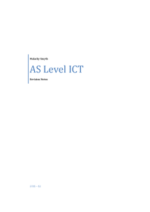 Preview of AS Level ICT Revision Notes
