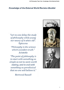 Preview of AS-Level, Philosophy, Knowledge of the External World, Revision Booklet