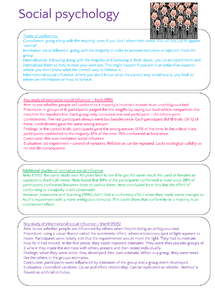 Preview of AS Level Unit 2 Psychology AQA A SOCIAL PSYCHOLOGY NOTES