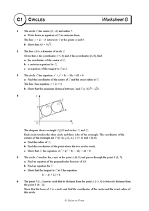 Preview of AS Maths - Core 1 - Solomon Worksheets - Circles - Worksheet B - Further Questions