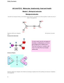 Preview of AS OCR Biolgy Revision Unit 2