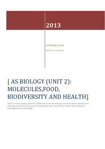 Preview of AS OCR Biology unit 2 (food, molecules, biodiversity and health) revision notes