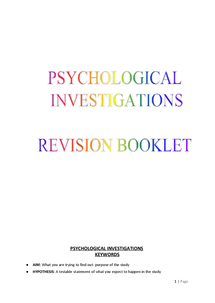Preview of AS OCR Psychology- Research Methods