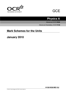 Preview of AS Physics : Mechanics - January 2010 Mark Scheme