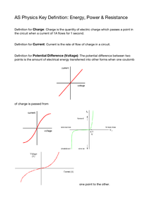 Preview of AS Physics PHY1 AQA Electrical Definitions and I/V Graph Shapes
