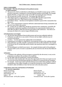 Preview of AS Politics Unit 2: Parliament and the Core Executive Summary Notes