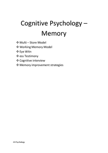 Preview of AS Psychology A AQA Unit 1- Cognitive (Memory) and Developmental (Attachment) Brief Revision Summary